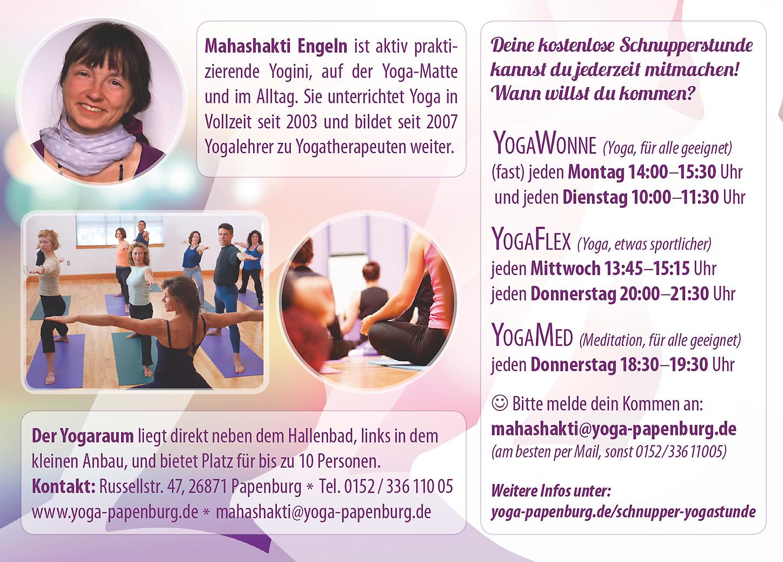 Gutschein Rückseite – Yoga Papenburg (Konzeption, Gestaltung)