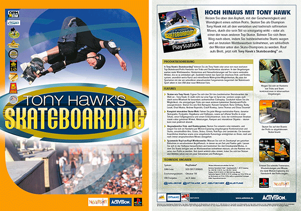 Sales Sheet »Tony Hawks Skateboarding« für PlayStation; Neversoft/Activision
