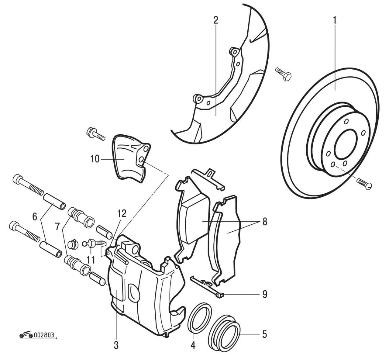 Снятие и установка передних тормозных колодок Volkswagen