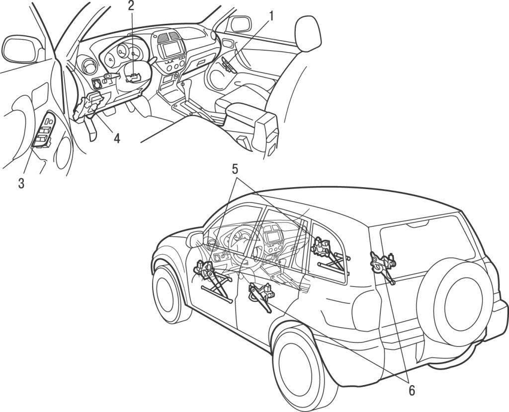 Проверка стеклоподъемников с электрическим приводом Toyota