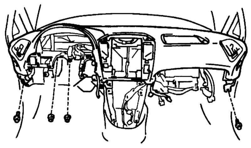 Снятие и установка панели приборов и главного вещевого