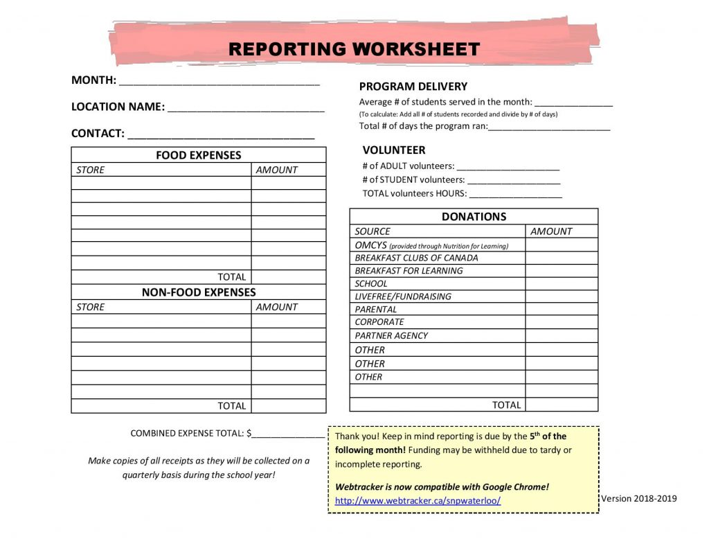 Collection Reporting Worksheet