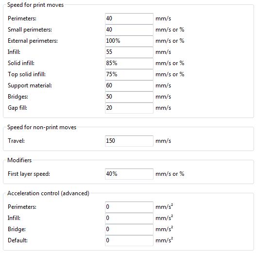 Expert mode speed options.