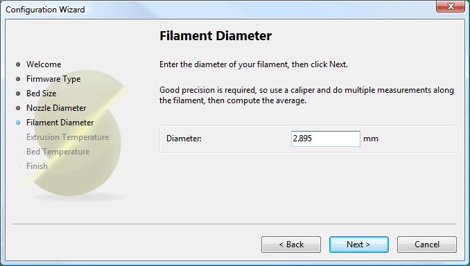 Configuration Wizard: Filament Diamter