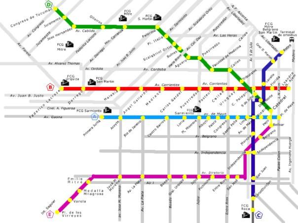 Plano de metrô em Buenos Aires