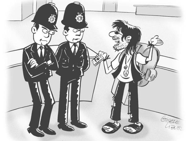 Desembarcar em Londres, cartoon de Gisele Bruns Libutti