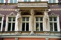 Detalhes Ar Decó em prédio, Riga, Letônia