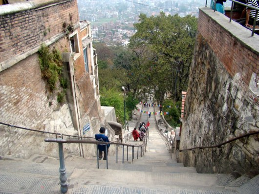 Nepal, Swayambhu, escadaria