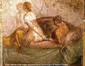 Cena erótica, casa em Pompéia, Itália