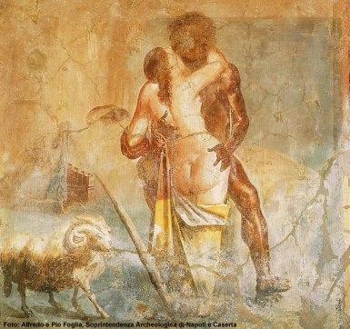 Mural em jardim em Pompeia, Nápoles