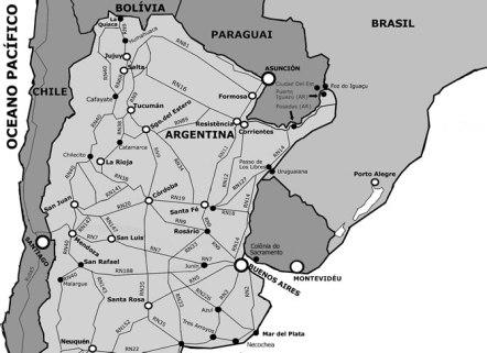 Mapa do norte da Argentina