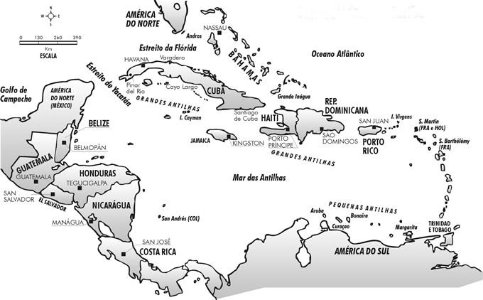 Mapa do Caribe