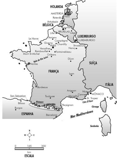 Mapa da França, Bélgica, Holanda