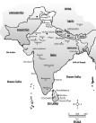 Mapa da Índia e Nepal