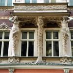 Detalhes Art Deco em prédio, Riga, Letônia