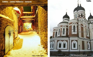 Tallin dupla, Templo Ortodoxo, rua com neve
