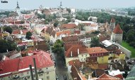 Vista aérea, centro histórico de Tallinn, Estônia