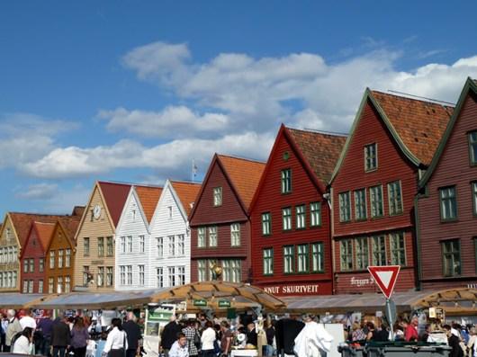Bergen, Noruega, bryggen- Foto Manual do Turista
