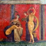 Afresco erótico em Pompeia, Itália