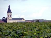 Igreja rodeada de vinhedos perto de Reims