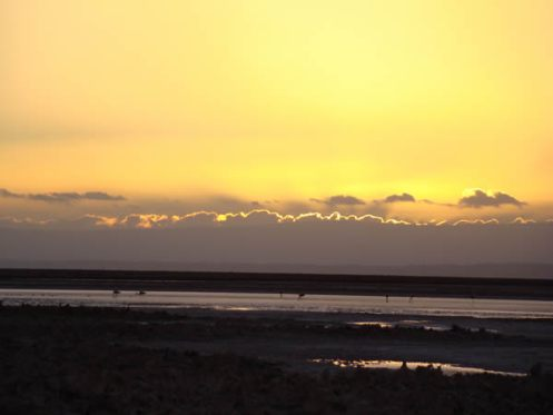 Salina no Atacama, no por do sol