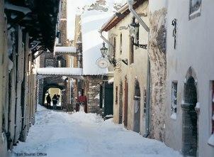 Tallinn sob a neve, Estônia, Europa Oriental