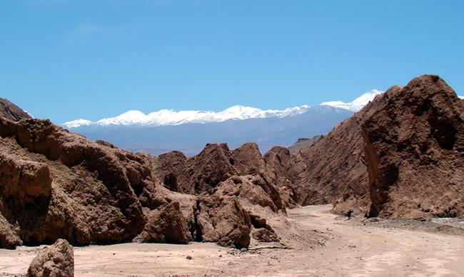 Valle de la Muerte, com os Andes ao fundo