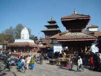Conjunto de templos estilo pagode, em Katmandu, Nepal