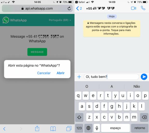 Telas mostrando o início de uma conversa no WhatsApp sem adicionar o número aos contatos.