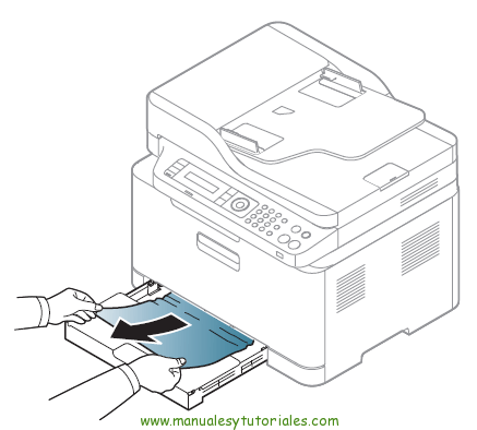 Cómo eliminar atasco de papel en la impresora Samsung Xpress SL-C460W. Atasco en la bandeja de papel 2