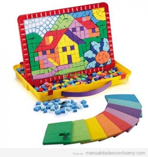 Mosaico hecho con teselas de goma eva dibujo de una casa - Casa de goma eva ...