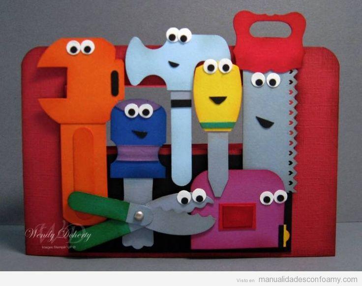 Herramientas de juguete hechas con goma eva manualidades con foamy tutoriales y patrones - Trabajo desde casa manualidades 2014 ...