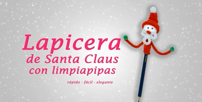 Lapicera de Santa Claus con limpiapipas chenillas