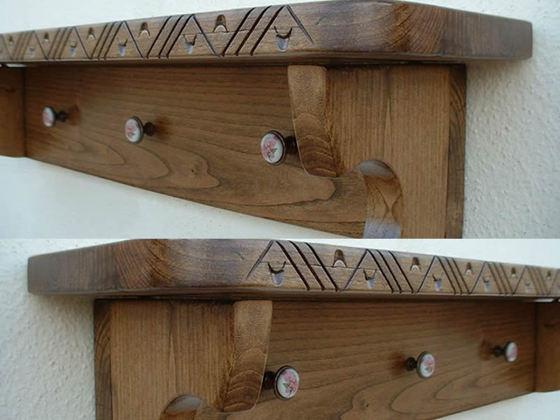 Culiluche – Sardinian Art Coat Hanger Shelves Up To 85 Cm With 3 Knobs