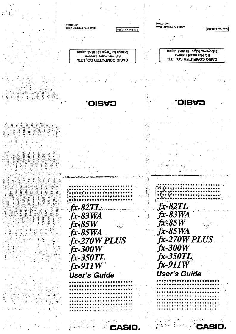 CASIO FX-911W, FX-85W, FX-85WA, FX-83WA, FX-82TL, FX-350TL