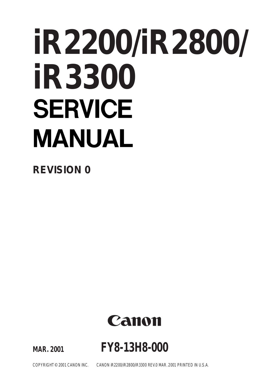 Canon IR2200, IR2800, IR3300 User Manual 2