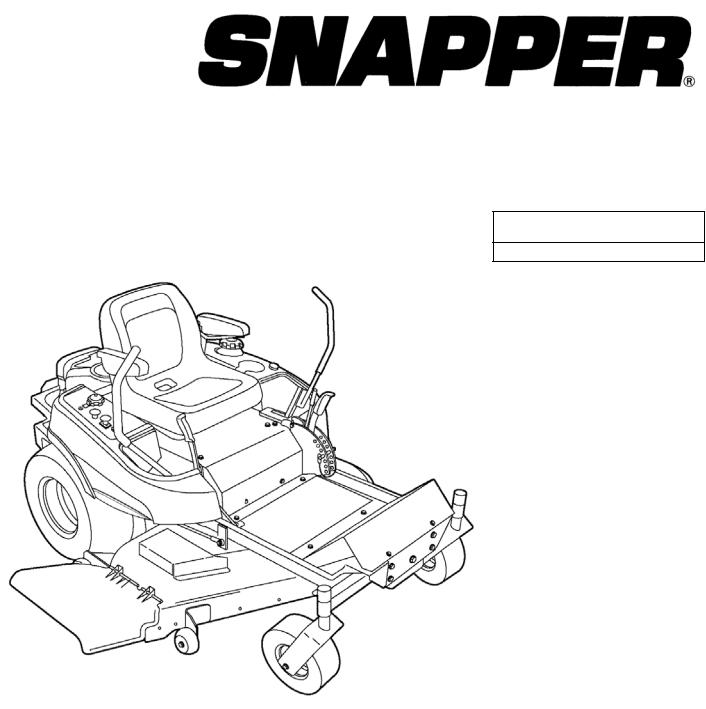 Briggs & Stratton SNAPPER 355ZB2654 DLR User Manual