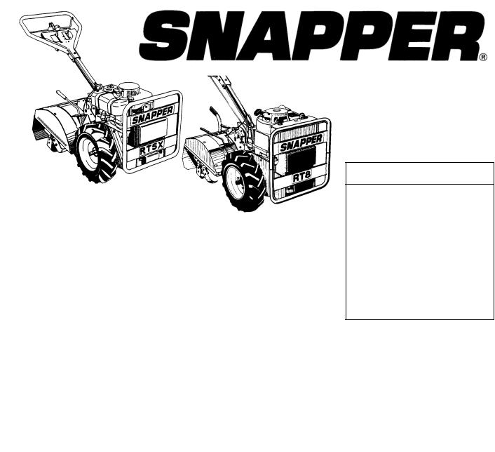 Snapper R8002BE, R5002R, R5002B, R8002B, RT5X User Manual