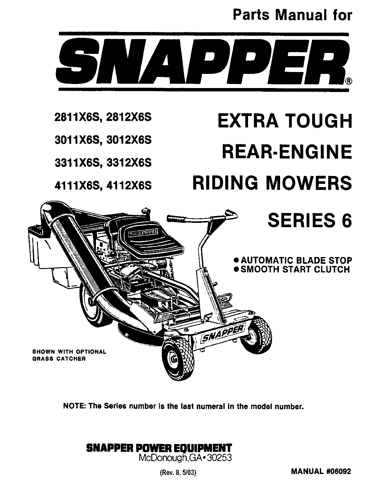 Snapper 2811X6S, 3011X6S, 3012X6S, 2812X6S User Manual