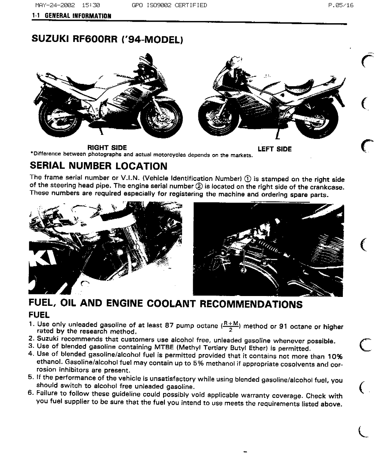 Suzuki RF 600, RF600 (1993) Service Manual