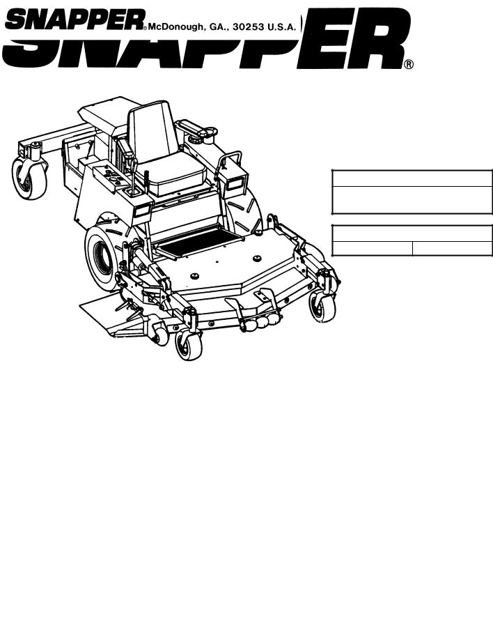 Snapper ZF2101DKU, ZF5201M, ZF6101M, ZF2301GKU User Manual