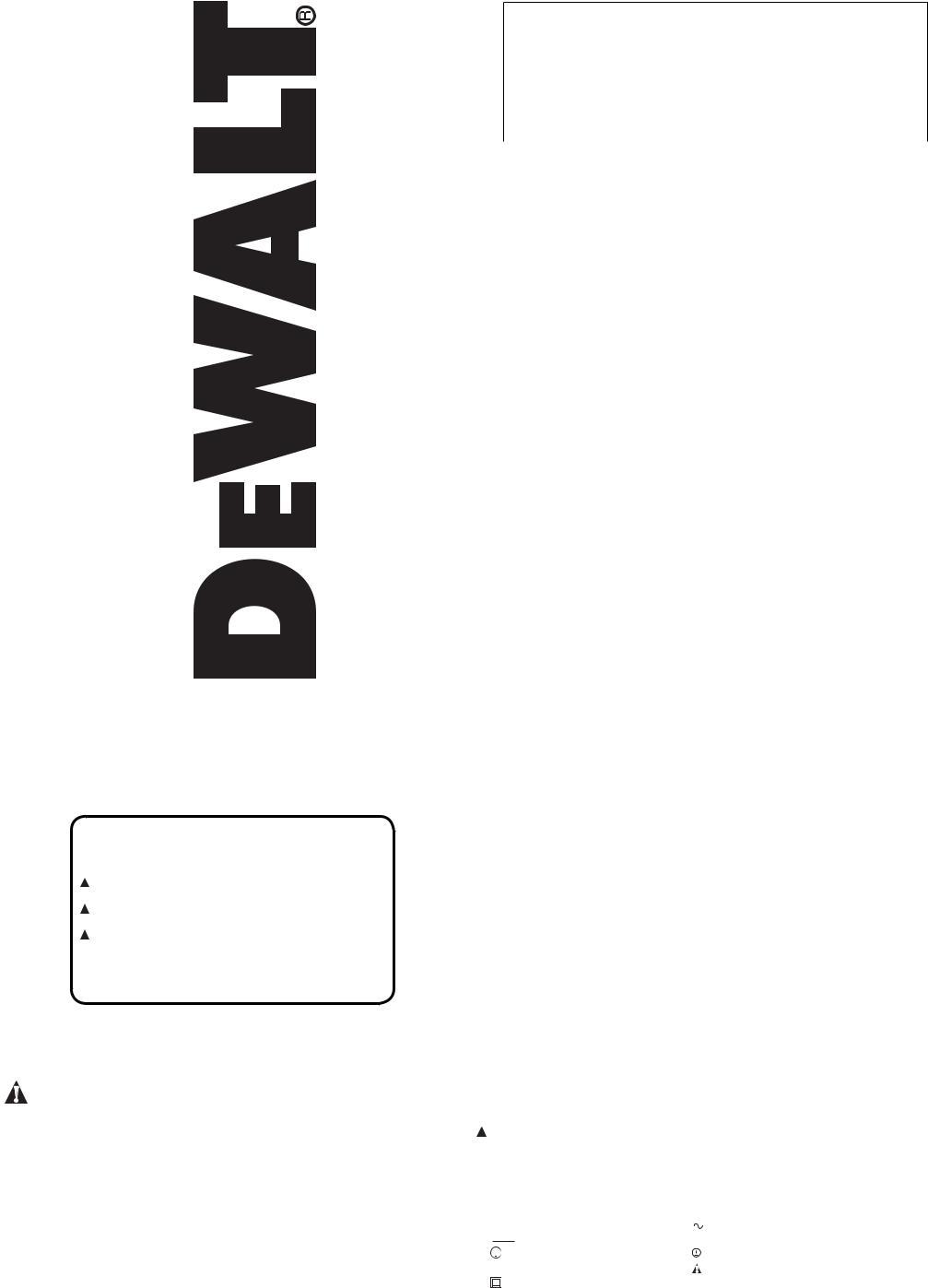 DeWalt Type 1 D21008, DWD112 User Manual