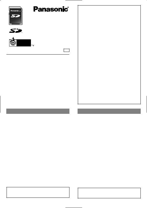 Panasonic SD-MEMORYCARD User Manual