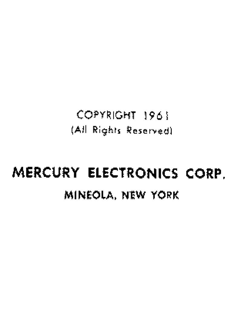 Mercury Electronics MODEL 1000 TUBE TESTER User Manual