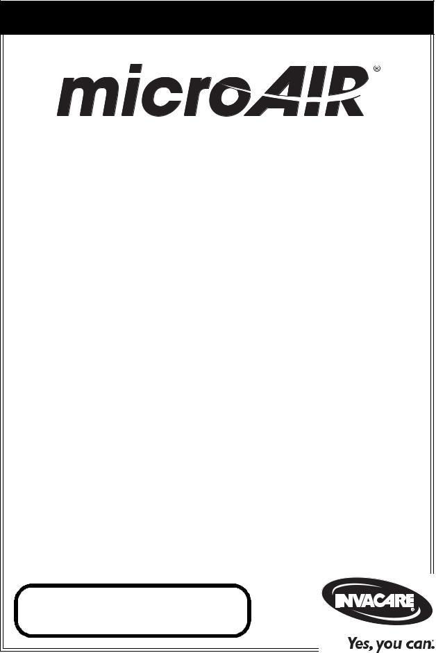 Invacare MicroAIR MA55, MicroAIR MA51, MicroAIR MA50 User
