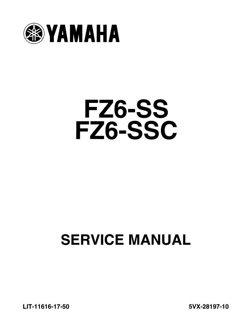 Yamaha FZ6-SS(SSC) 2004 Service Manual