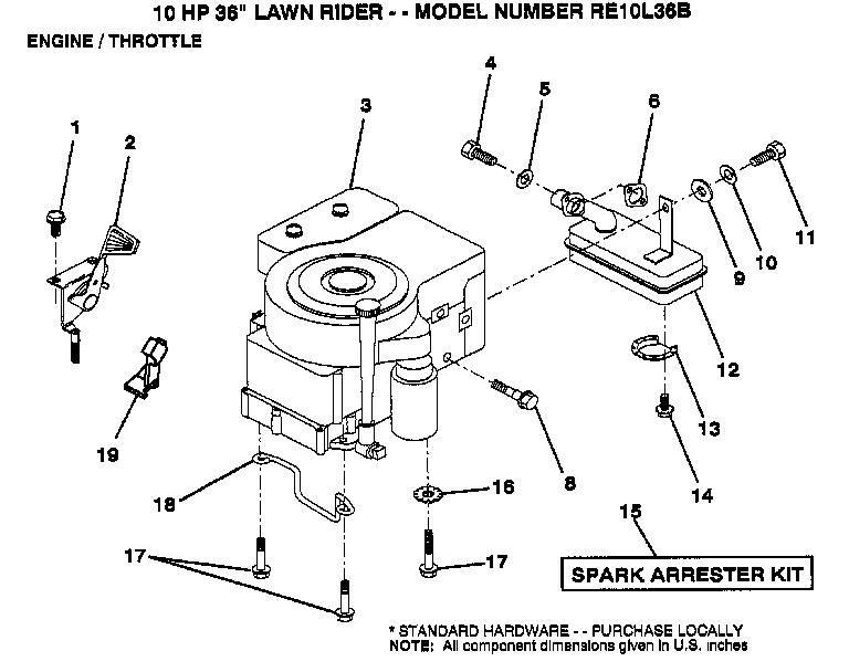 AYP RE10L36B Parts List