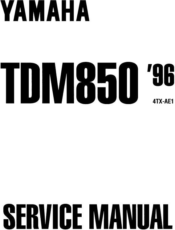 Yamaha TDM850 1996, TDM850 '96, TDM850 96-99 Service Manual
