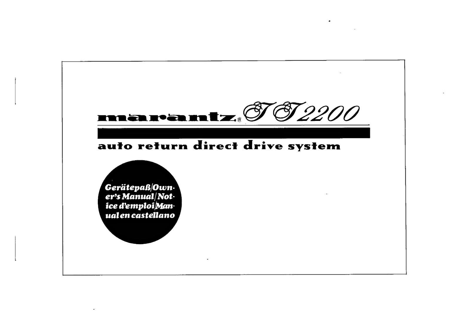 Marantz TT-2200 Owners Manual