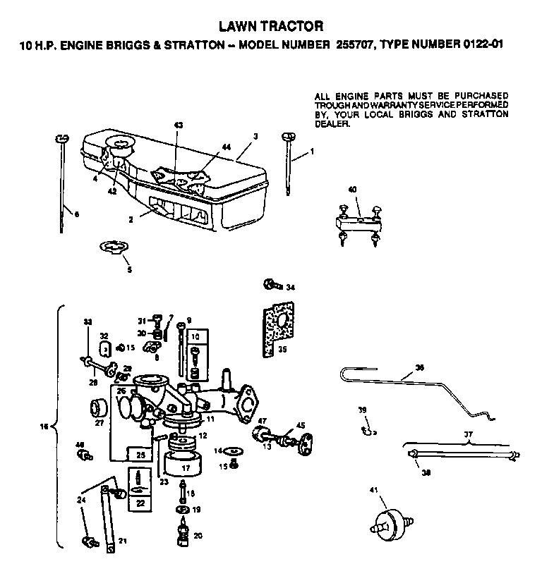 AYP TF1036AR Parts List